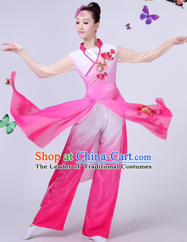 Traditional Chinese Classical Umbrella Dance Pink Embroidered Costume, China Yangko Folk Fan Dance Clothing for Women