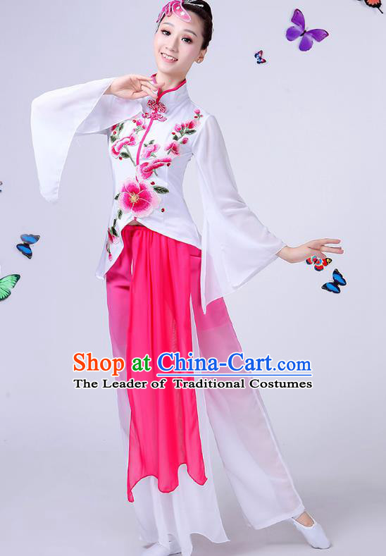 Traditional Chinese Classical Umbrella Dance Embroidered Peony White Costume, China Yangko Folk Fan Dance Clothing for Women