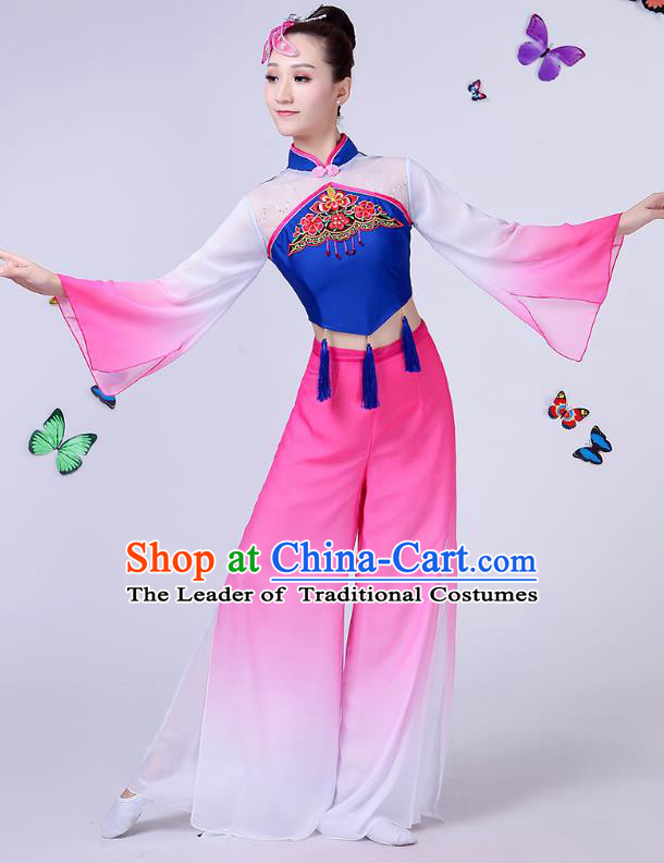 Traditional Chinese Classical Umbrella Dance Embroidered Peony Blue Costume, China Yangko Folk Fan Dance Clothing for Women