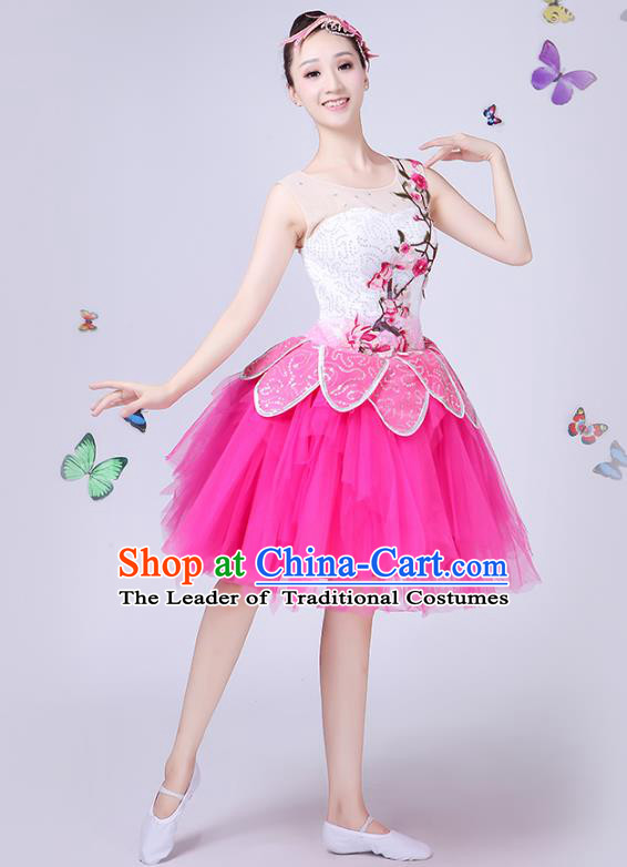 Traditional Chinese Modern Dance Opening Dance Clothing Chorus Folk Umbrella Dance Pink Veil Bubble Dress for Women