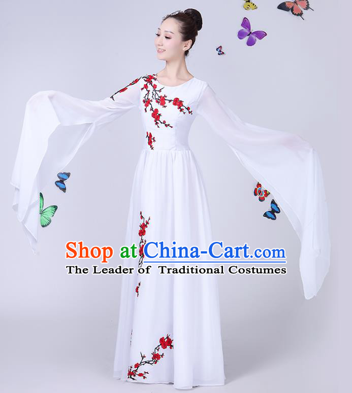 Traditional Chinese Modern Dance Opening Dance Clothing Chorus Folk Umbrella Dance White Dress for Women