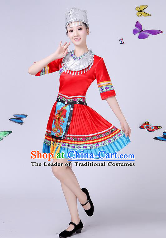 Traditional Chinese Miao Nationality Dance Costume, Chinese Minority Hmong Folk Dance Red Pleated Skirt Embroidery Costume for Women