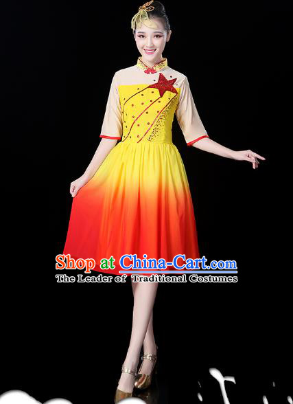 Traditional Chinese Modern Dance Opening Dance Clothing Chorus Yellow Dress for Women