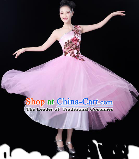Traditional Chinese Modern Dance Opening Dance Clothing Chorus Pink Bubble Dress for Women