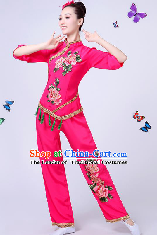 Traditional Chinese Classical Fan Dance Costume, China Yangko Folk Fan Dance Rosy Clothing for Women