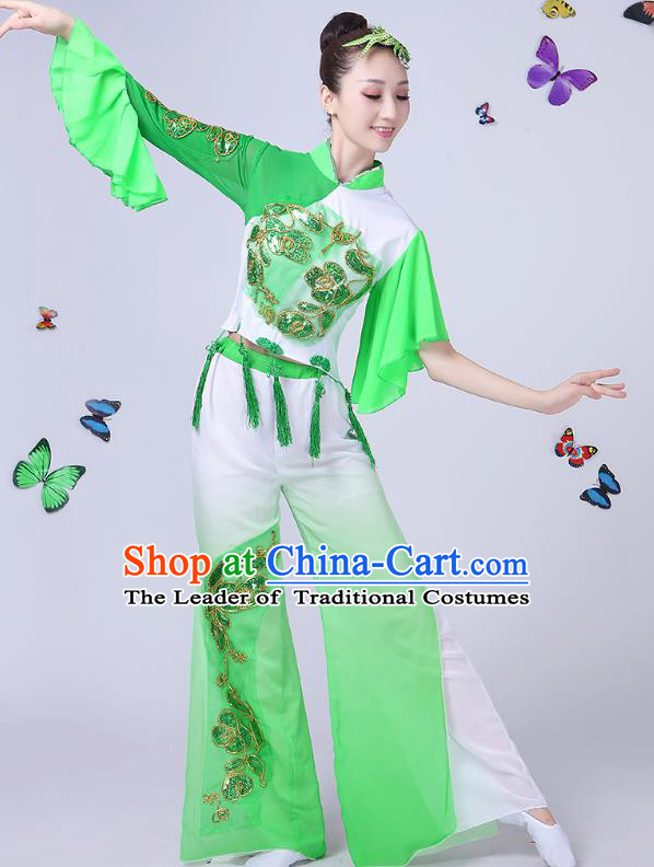 Traditional Chinese Classical Umbrella Dance Green Costume, China Yangko Folk Fan Dance Clothing for Women