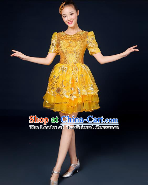 Traditional Chinese Modern Dance Opening Dance Clothing Chorus Classical Dance Yellow Bubble Dress for Women