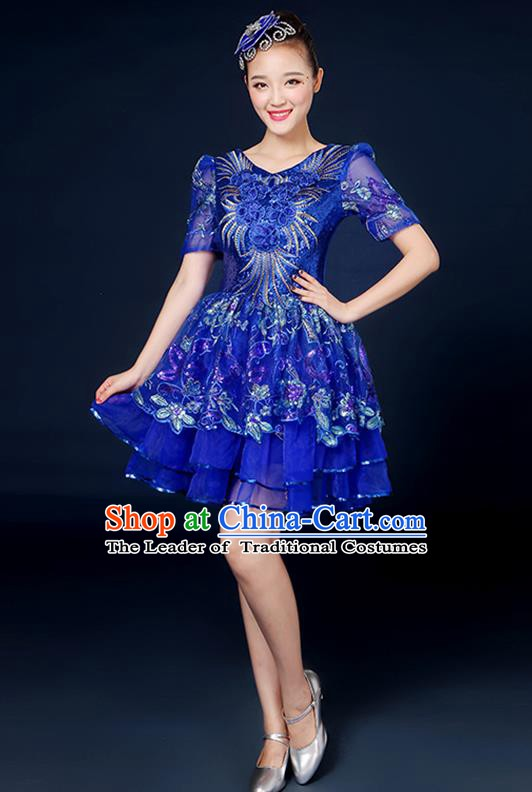 Traditional Chinese Modern Dance Opening Dance Clothing Chorus Classical Dance Blue Bubble Dress for Women