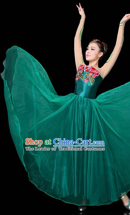 Traditional Chinese Modern Dance Opening Dance Clothing Chorus Classical Dance Embroidered Green Long Dress for Women