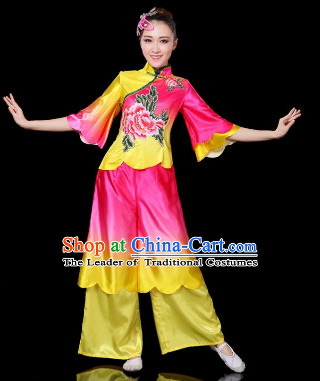 Traditional Chinese Yangge Fan Classical Dance Printing Peony Uniform, China Folk Yangko Drum Dance Clothing for Women
