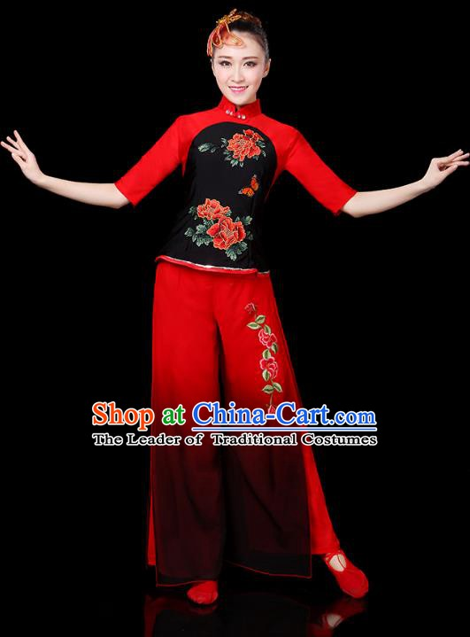 Traditional Chinese Yangge Fan Classical Dance Embroidered Uniform, China Folk Yangko Drum Dance Clothing for Women