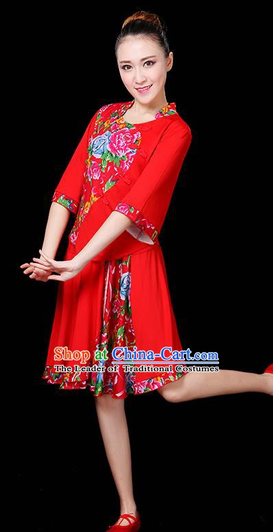 Traditional Chinese Yangge Fan Classical Dance Peony Red Uniform, China Folk Yangko Drum Dance Clothing for Women