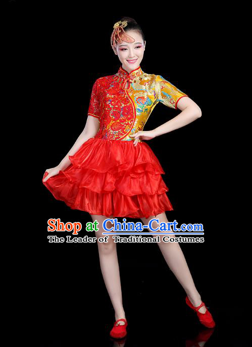 Traditional Chinese Modern Dance Opening Dance Clothing Chorus Competition Red Bubble Dress for Women