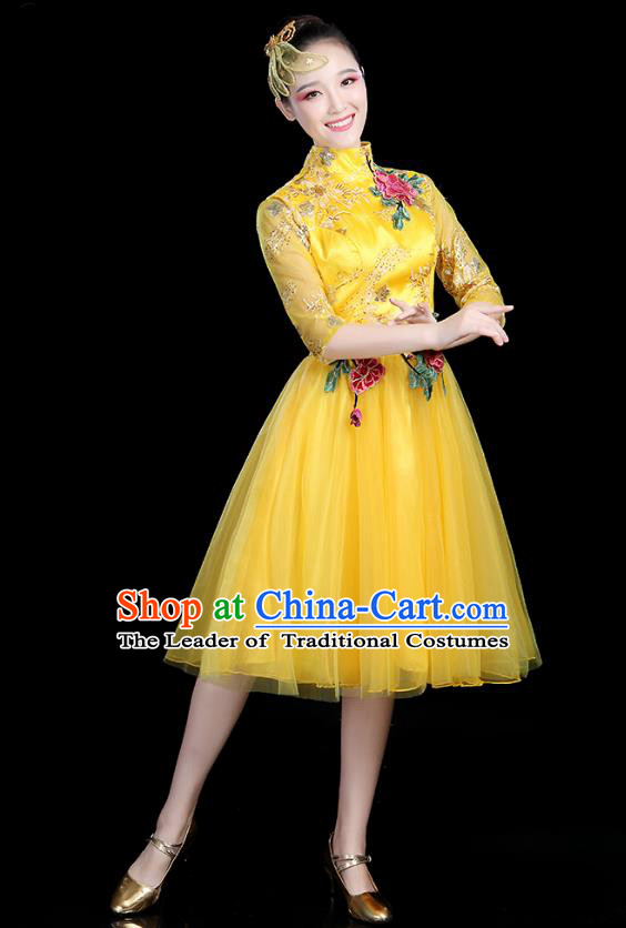 Traditional Chinese Modern Dance Opening Dance Clothing Chorus Competition Yellow Veil Bubble Dress for Women