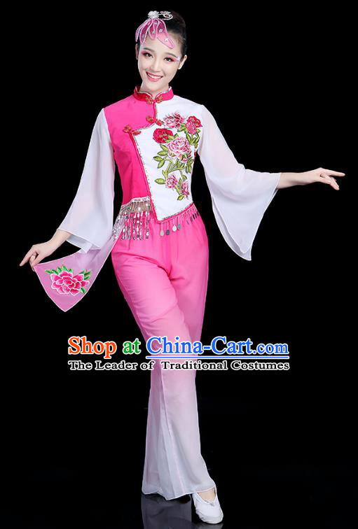 Traditional Chinese Yangge Fan Dance Pink Costume, China Classical Folk Dance Yangko Umbrella Dance Clothing for Women