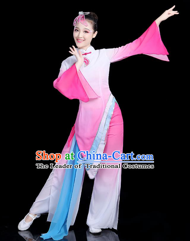 Traditional Chinese Yangge Fan Dance Costume, China Classical Folk Dance Yangko Umbrella Dance Pink Clothing for Women