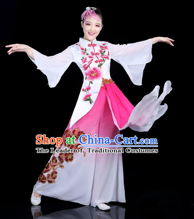 Traditional Chinese Yangge Fan Dance Embroidered Costume, China Classical Folk Dance Yangko Umbrella Dance Clothing for Women