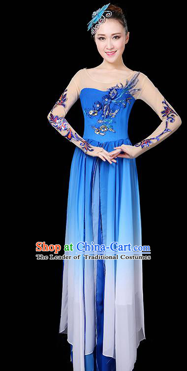 Traditional Chinese Modern Dance Opening Dance Clothing Chorus Yangko Dance Blue Long Dress for Women