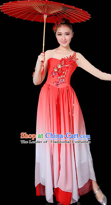 Traditional Chinese Modern Dance Opening Dance Clothing Chorus Yangko Dance Red Long Dress for Women