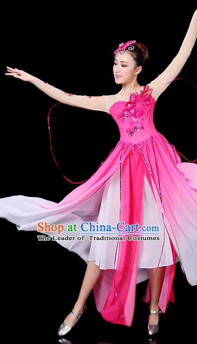 Traditional Chinese Modern Dance Opening Dance Clothing Chorus Yangko Dance Pink Long Dress for Women