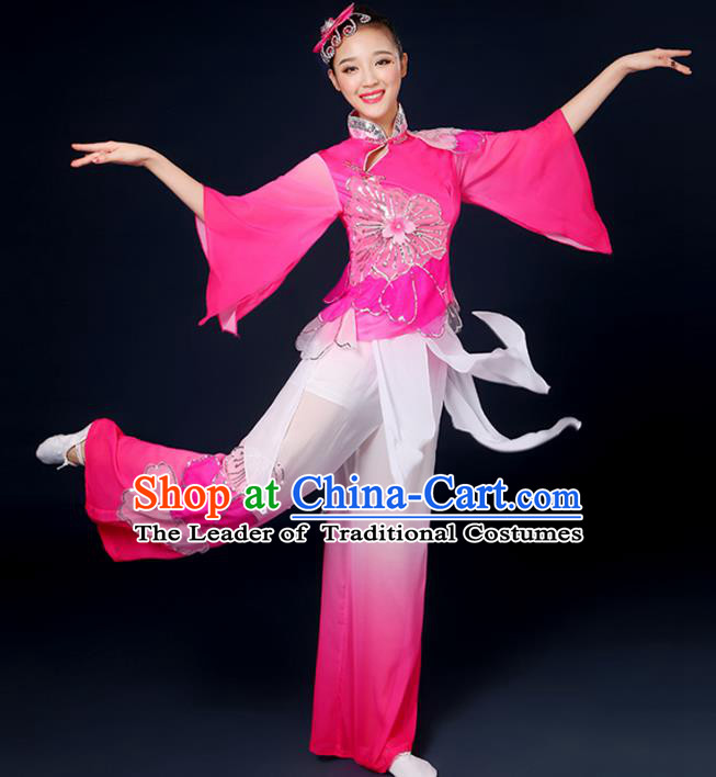 Traditional Chinese Yangge Fan Dance Embroidered Pink Uniform, China Classical Folk Yangko Drum Dance Clothing for Women