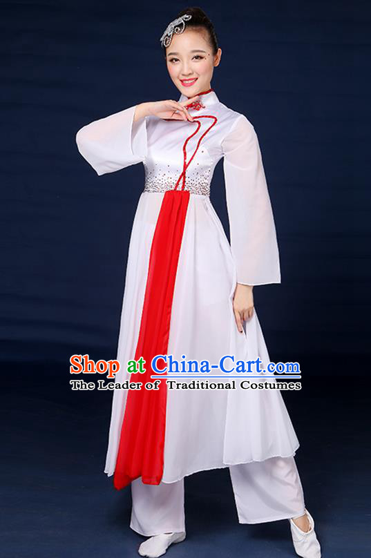 Traditional Chinese Yangge Fan Dance Embroidered White Dress, China Classical Folk Yangko Umbrella Dance Clothing for Women