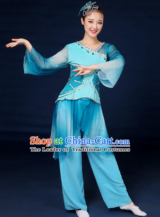 Traditional Chinese Yangge Fan Dance Embroidered Blue Uniform, China Classical Folk Yangko Umbrella Dance Clothing for Women