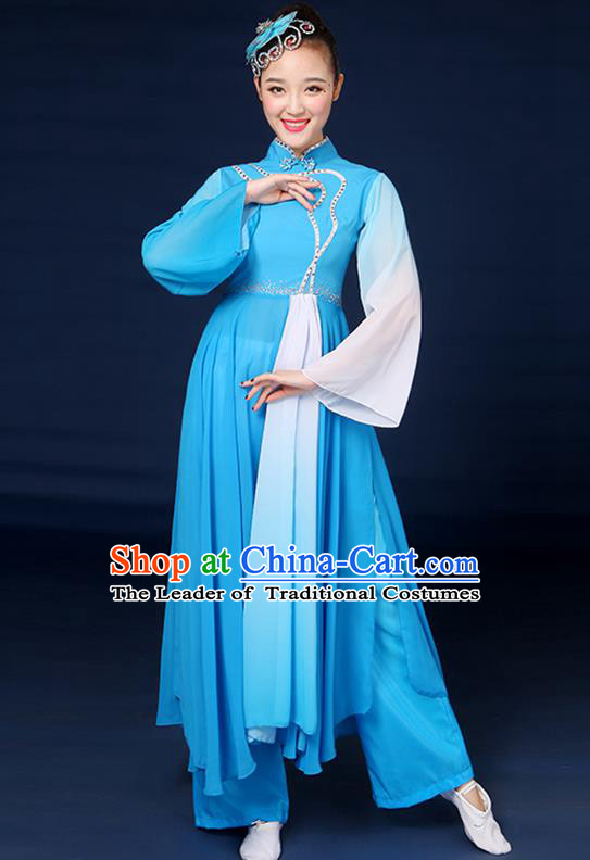 Traditional Chinese Yangge Fan Dance Embroidered Blue Dress, China Classical Folk Yangko Umbrella Dance Clothing for Women