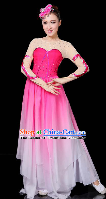 Traditional Chinese Modern Dance Opening Dance Clothing Chorus Yangko Fan Dance Pink Dress for Women