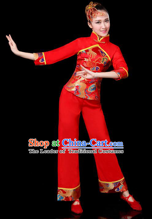 Traditional Chinese Yangge Fan Dance Red Costume, China Classical Folk Dance Yangko Drum Dance Clothing for Women
