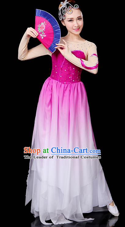 Traditional Chinese Modern Dance Opening Dance Clothing Chorus Yangko Fan Dance Purple Dress for Women
