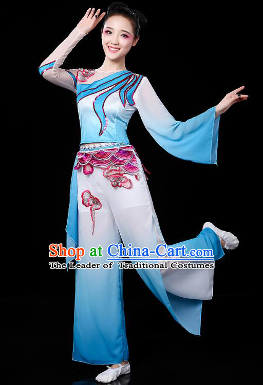 Traditional Chinese Yangge Fan Dance Blue Uniform, China Classical Folk Dance Yangko Drum Dance Clothing for Women