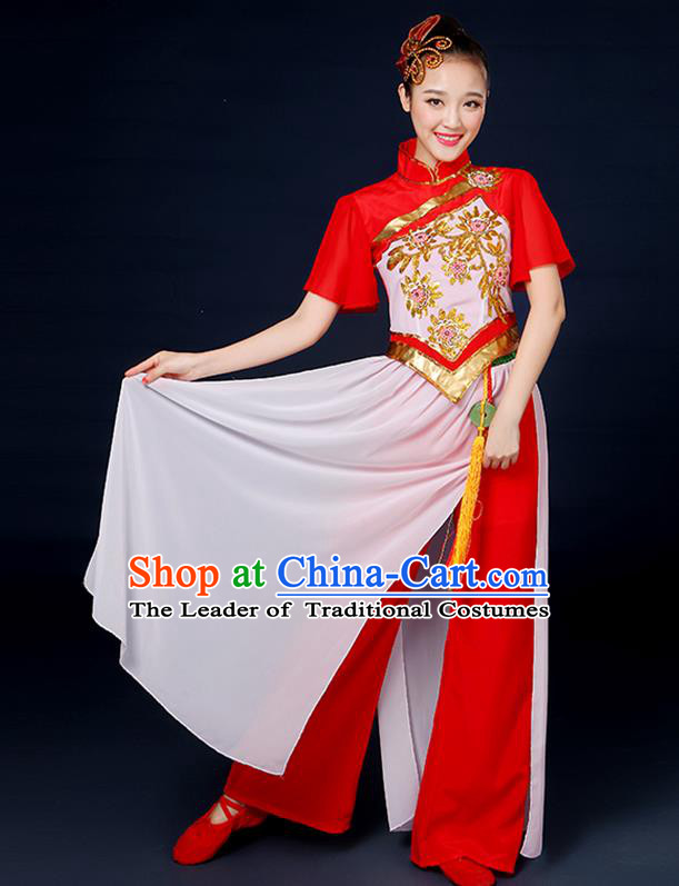 Traditional Chinese Yangge Fan Dance Red Uniform, China Classical Folk Dance Yangko Drum Dance Clothing for Women