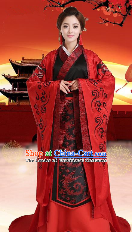 Traditional Chinese Han Dynasty Imperial Princess Costume, China Ancient Wedding Bride Hanfu Clothing for Women
