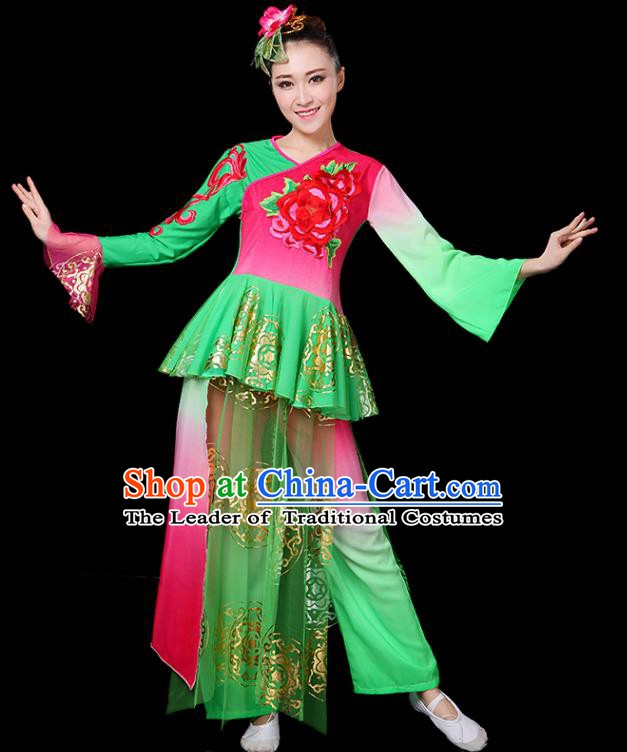 Traditional Chinese Yangge Fan Classical Dance Umbrella Dance Uniform, China Folk Yangko Drum Dance Clothing for Women