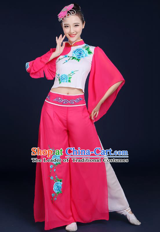 Traditional Chinese Folk Yangge Fan Classical Dance Peony Pink Uniform, China Yangko Drum Dance Clothing for Women