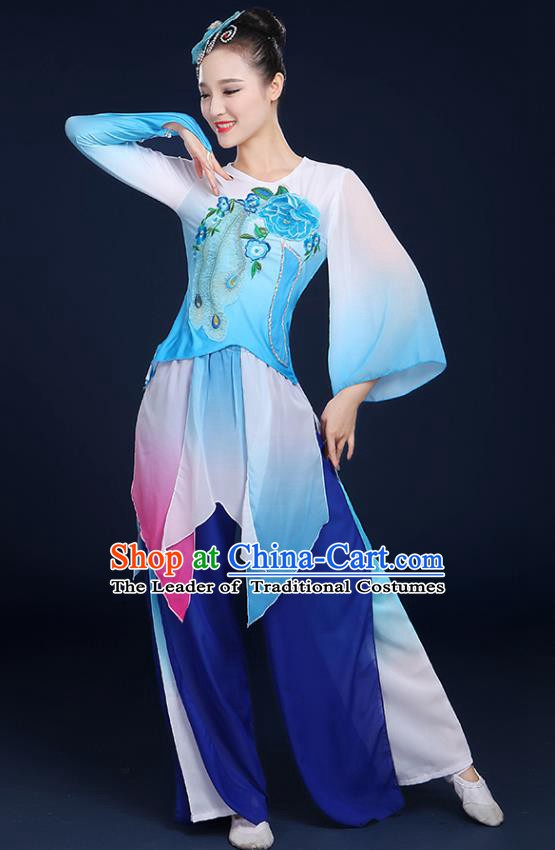 Traditional Chinese Folk Yangge Fan Classical Dance Peony Blue Uniform, China Yangko Drum Dance Clothing for Women