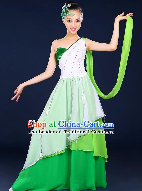 Traditional Chinese Modern Dance Opening Dance Clothing Chorus Classical Dance Green Dress for Women