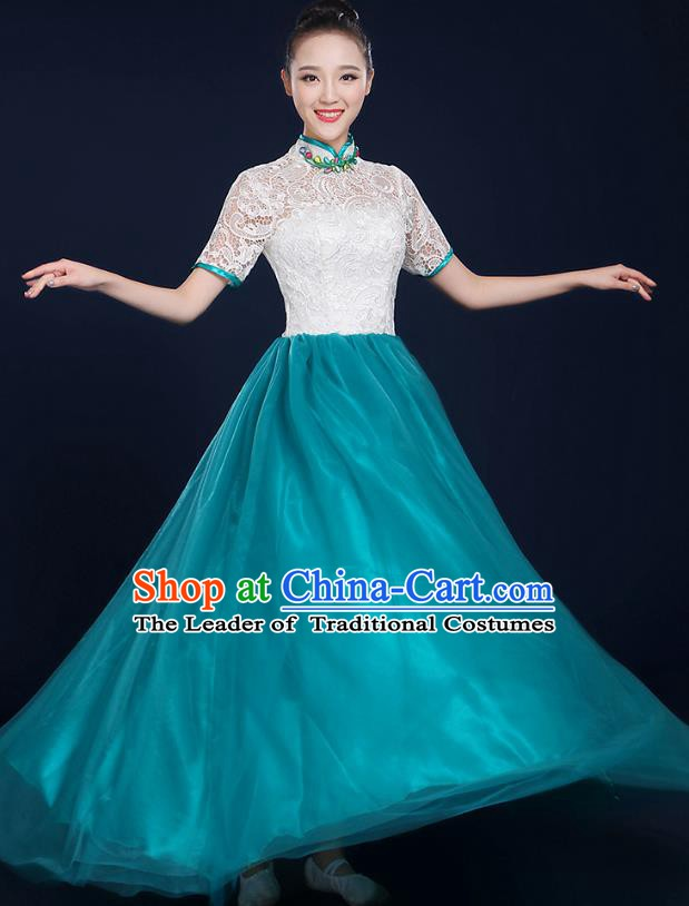 Traditional Chinese Modern Dance Opening Dance Lace Clothing Chorus Classical Dance Green Dress for Women