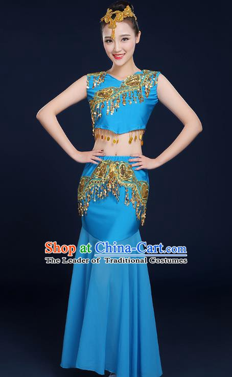 Traditional Chinese Dai Nationality Peacock Dance Costume, China Folk Dance Pavane Blue Dress for Women