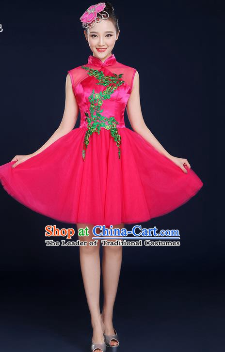 Traditional Chinese Modern Dance Opening Dance Clothing Chorus Classical Dance Rosy Bubble Veil Dress for Women