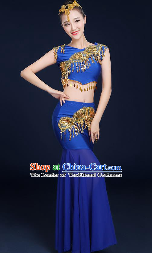 Traditional Chinese Dai Nationality Peacock Dance Costume, China Folk Dance Pavane Royalblue Dress for Women