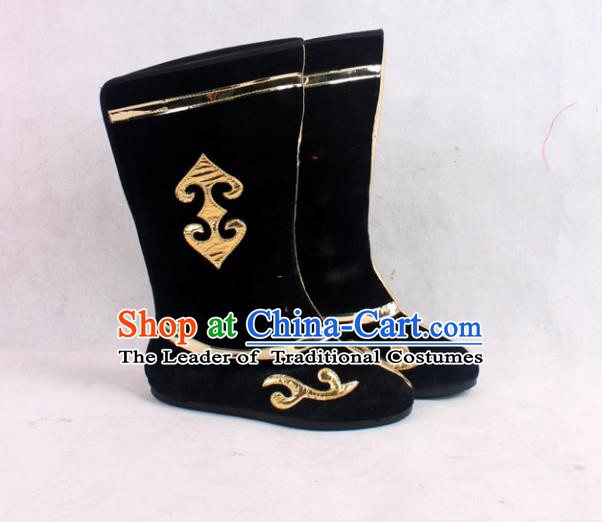 Asian Chinese Beijing Opera Embroidered Black Boots, Traditional China Peking Opera General Hanfu Shoes
