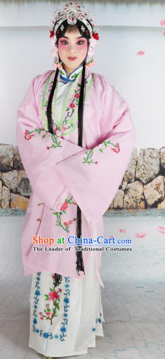 Chinese Beijing Opera Actress Costume Pink Embroidered Cape, Traditional China Peking Opera Diva Embroidery Clothing