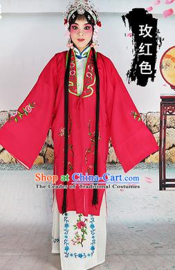 Chinese Beijing Opera Actress Costume Rosy Embroidered Cape, Traditional China Peking Opera Diva Embroidery Clothing
