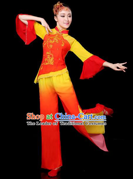 Traditional Chinese Yangge Fan Classical Dance Red Uniform, China Folk Yangko Drum Dance Clothing for Women