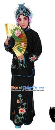 Chinese Beijing Opera Actress Embroidered Peony Costume, China Peking Opera Servant Girl Embroidery Black Clothing