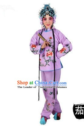 Chinese Beijing Opera Servant Girl Embroidered Purple Costume, China Peking Opera Actress Embroidery Clothing