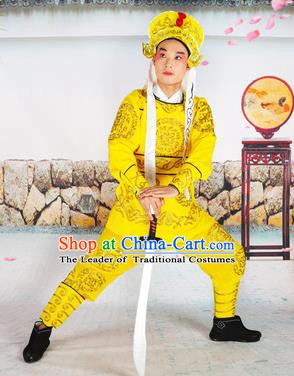 Chinese Beijing Opera Takefu Embroidered Yellow Costume, China Peking Opera Soldier Embroidery Clothing