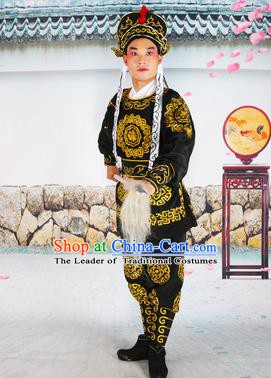 Chinese Beijing Opera Takefu Embroidered Black Costume, China Peking Opera Soldier Embroidery Clothing
